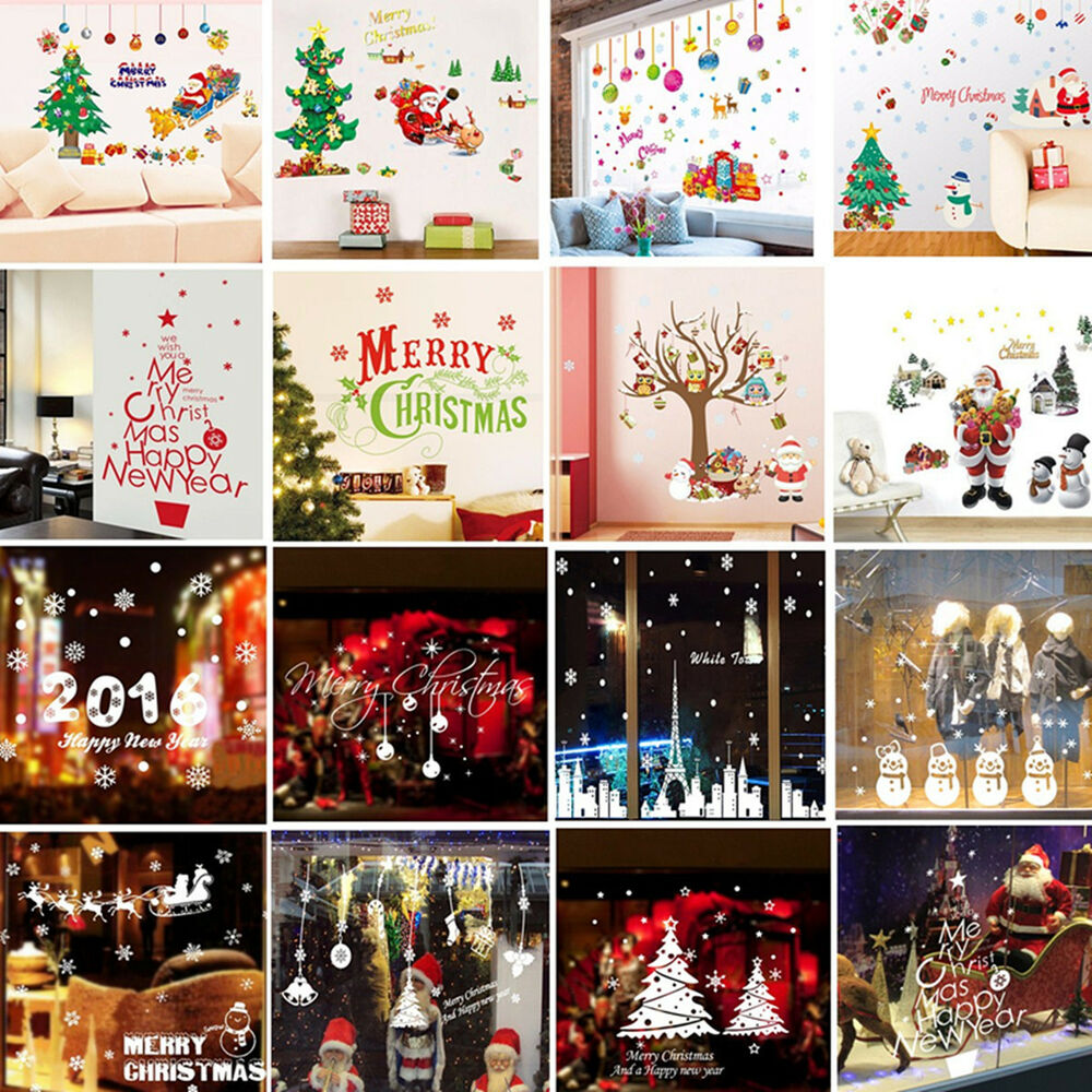 Christmas xmas santa removable window stickers art decal for Christmas wall mural plastic