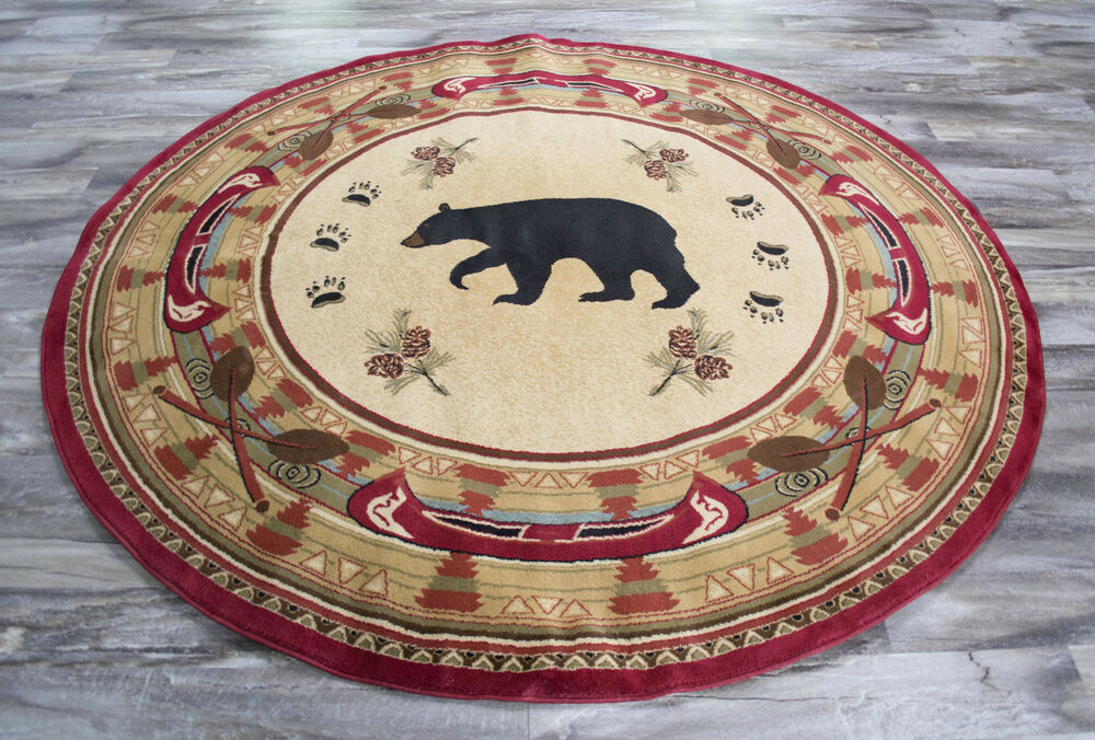 8 Round Lodge Cabin Rustic Bear Pine Red Area Rug Free