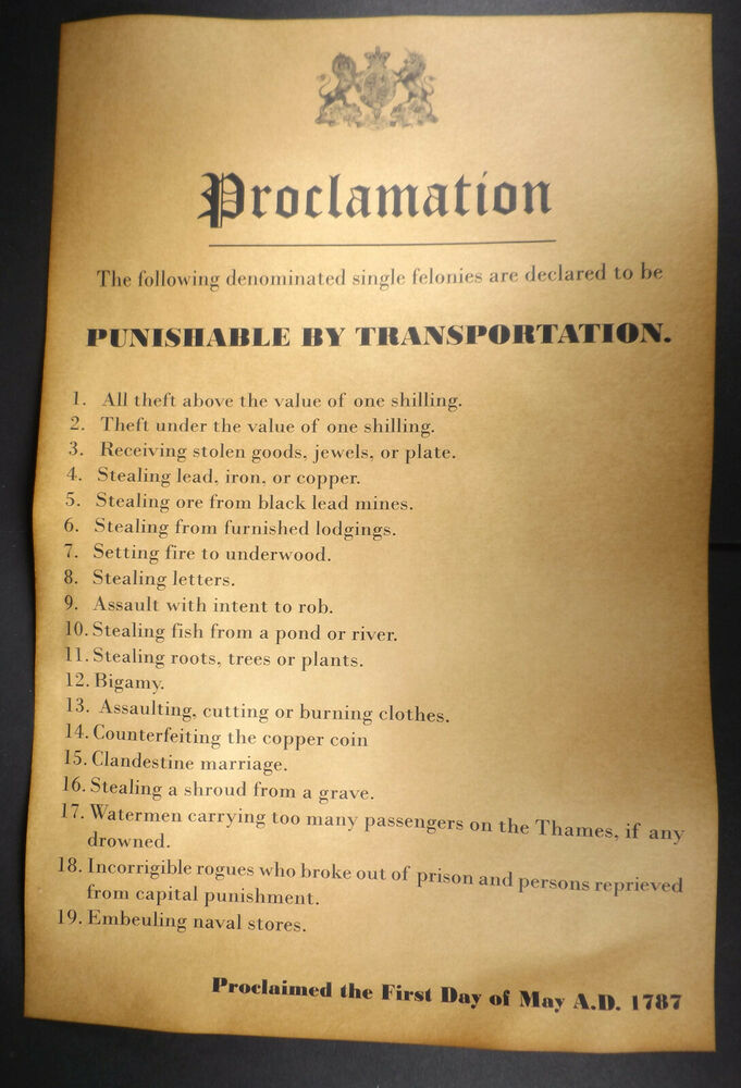 19 crimes punishable by transportation to australia 11x17