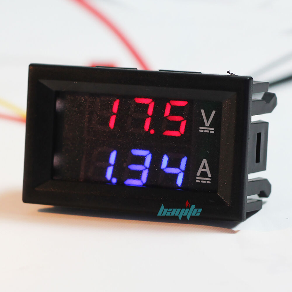 Digital Volt Meter : Mini dc v a digital voltmeter ammeter blue red led