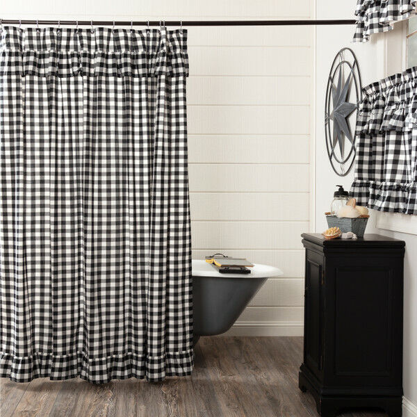Shower Curtain Ninepatch Patchwork 72x72 100% Cotton Primitive Country ...