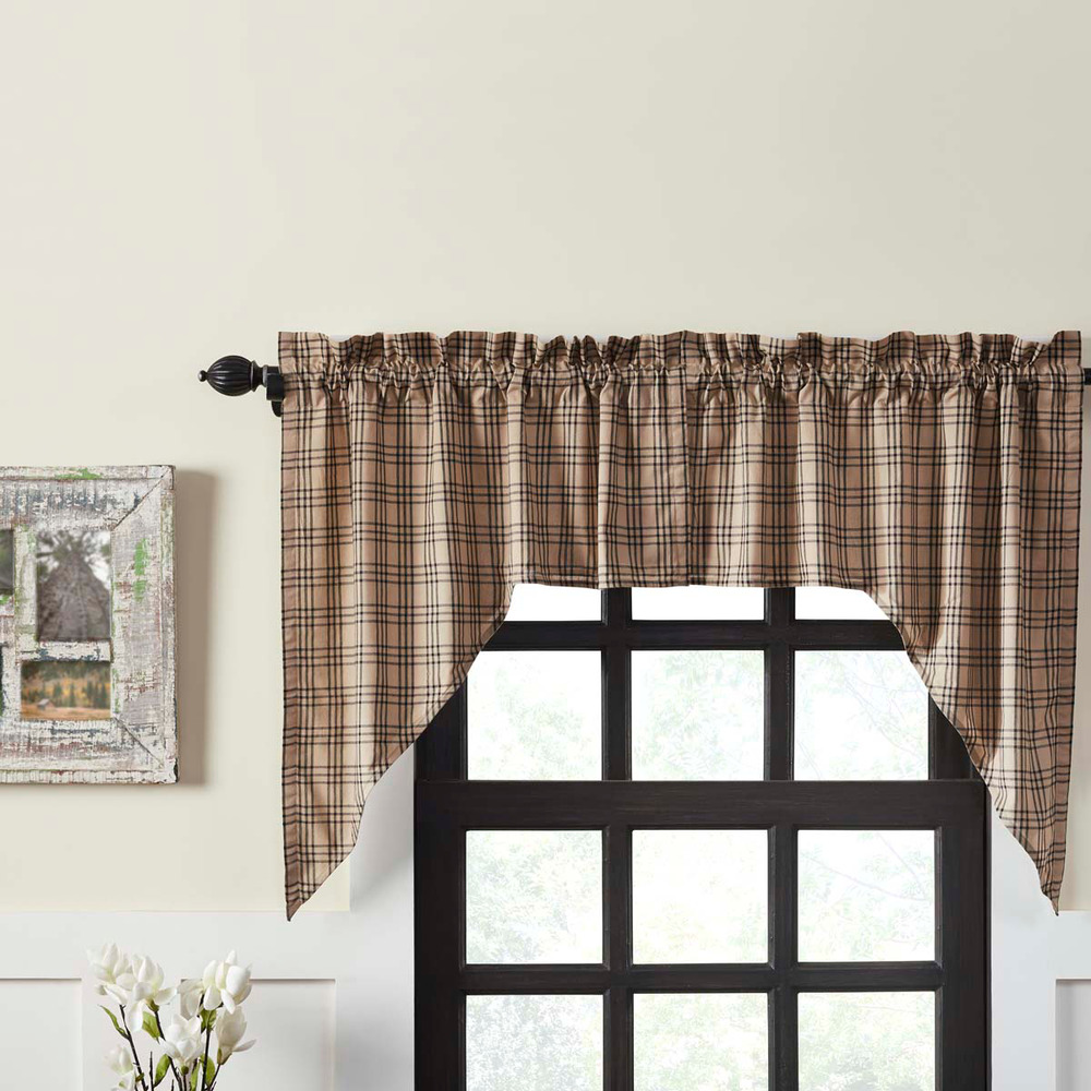 Pine Cone PRAIRIE CURTAIN SET Print on Burlap COUNTRY ...