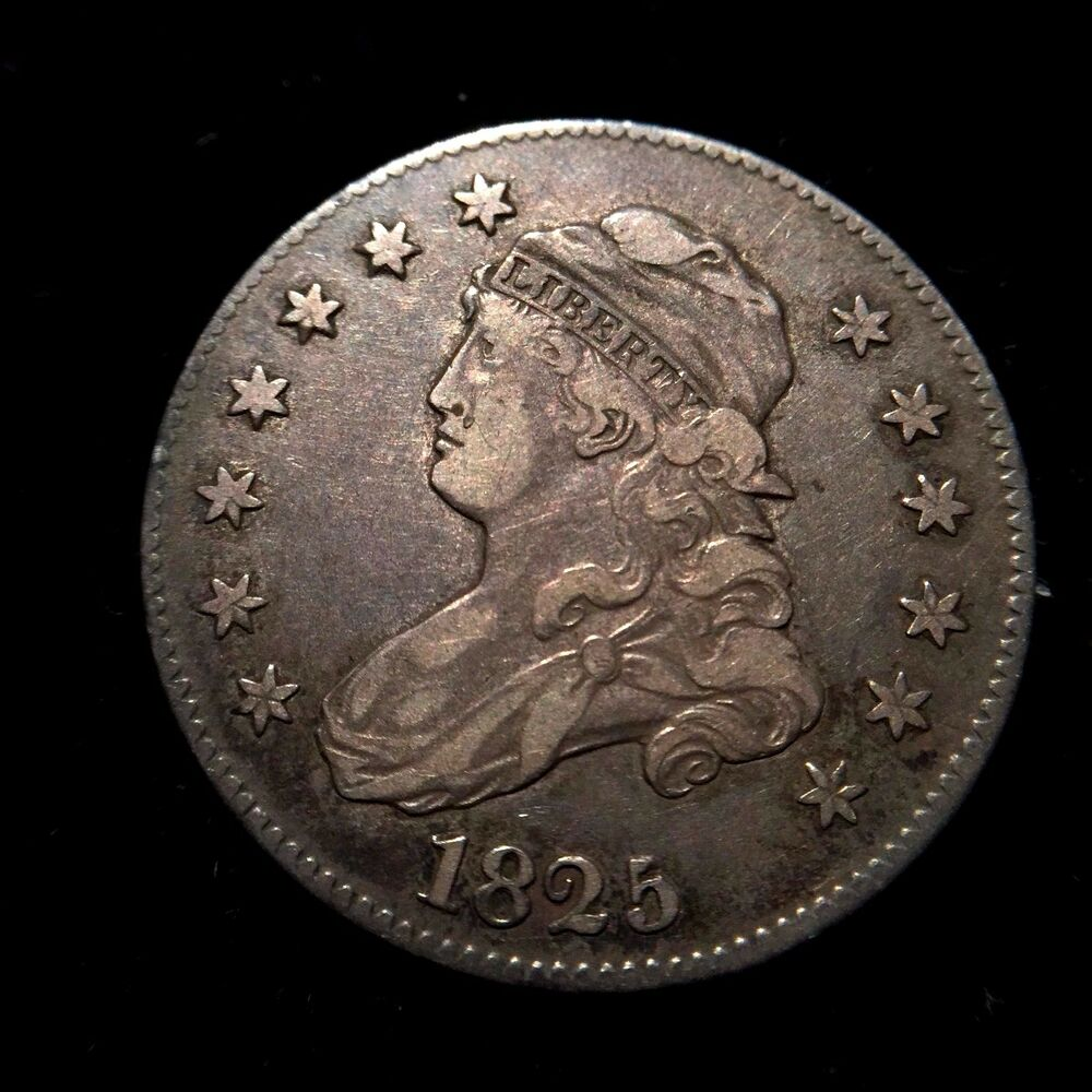 1825/3 over 23 B-2 Capped Bust Silver Quarter Dollar XF ...