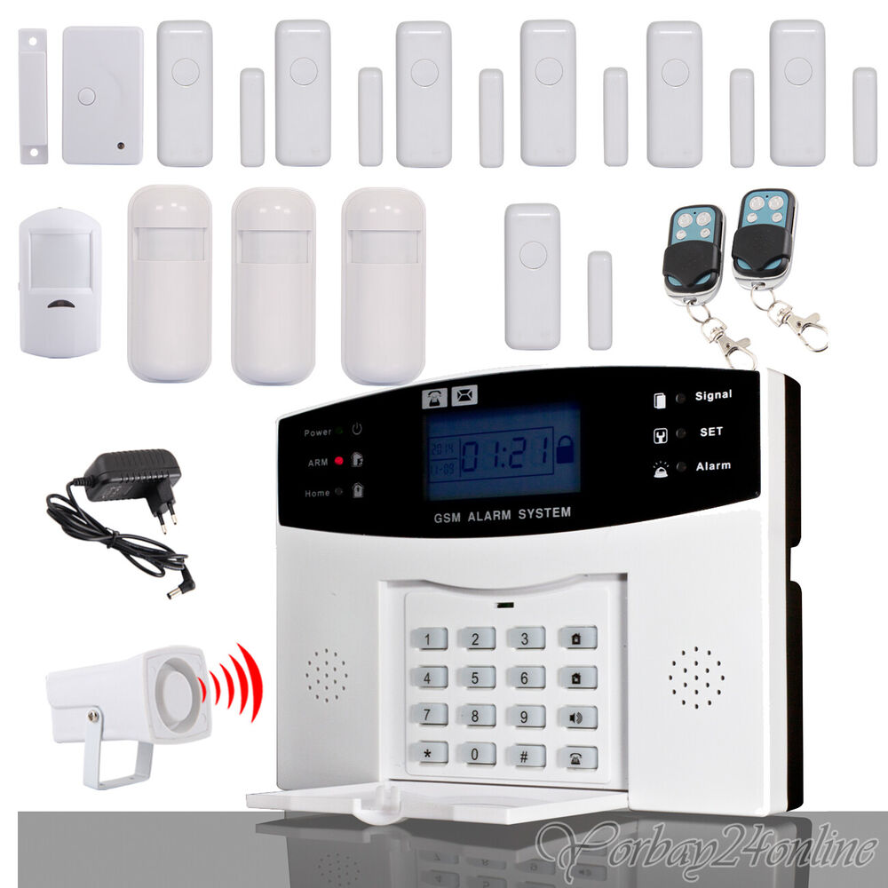 haus funk alarmanlage gsm sms alarm lcd telefon bewegungsmelder sicherheit set ebay. Black Bedroom Furniture Sets. Home Design Ideas