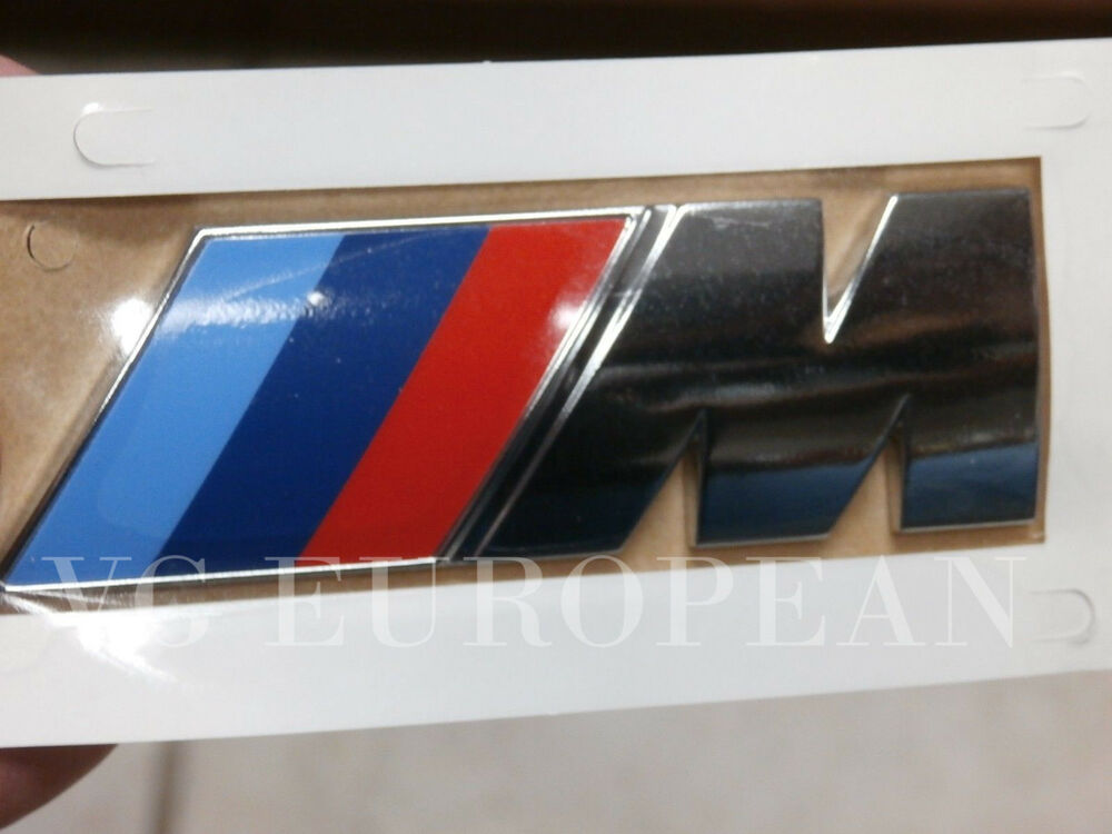 bmw e71 x6 m genuine rear trunk emblem m lettering decal new 2010 2014 ebay. Black Bedroom Furniture Sets. Home Design Ideas