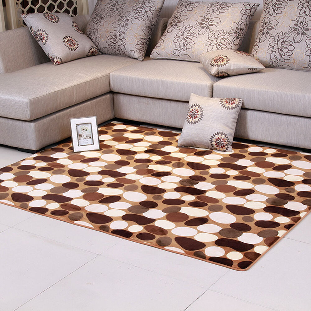 Fluffy rugs anti skid shaggy area rug dining room home for Bedroom rugs