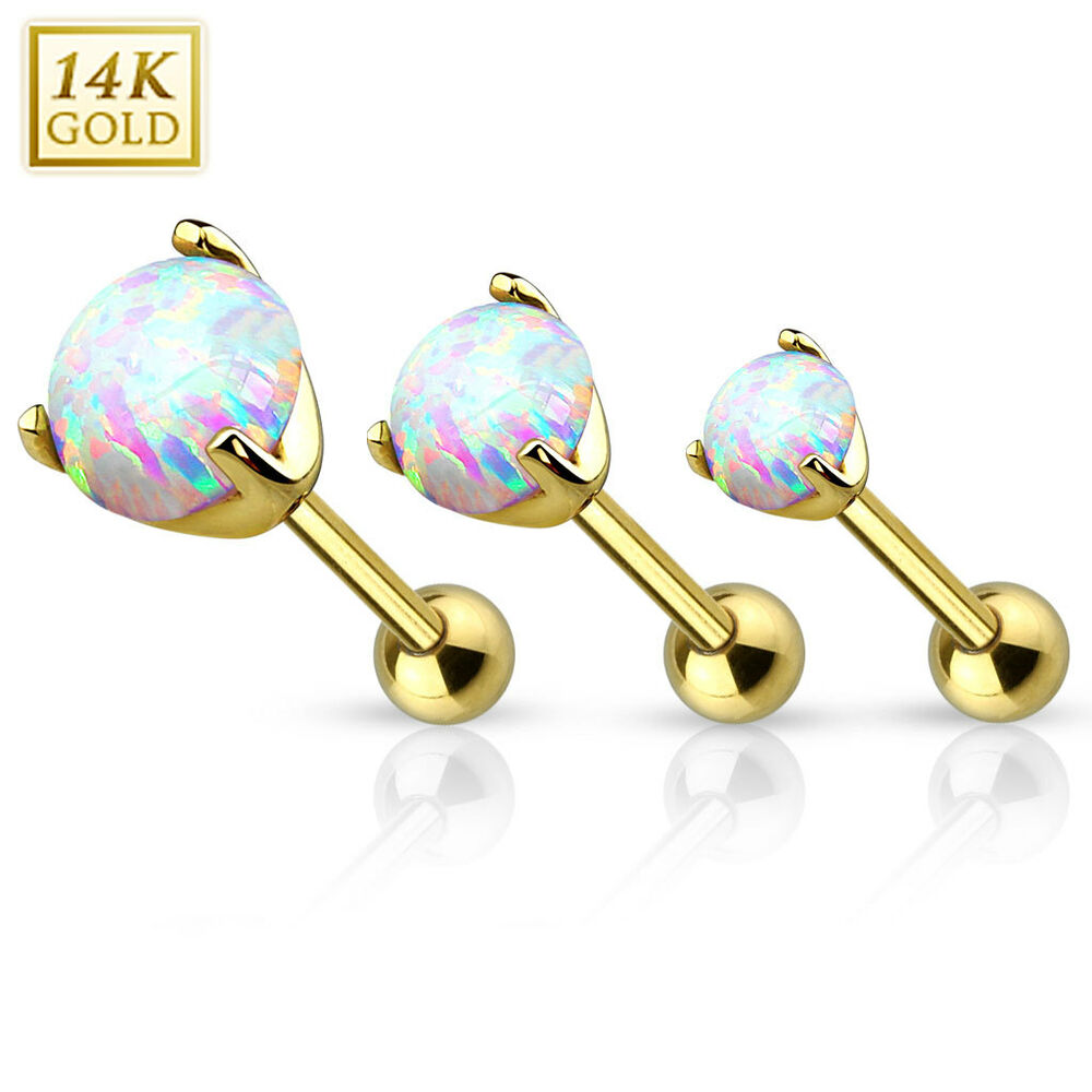 14K Solid Gold OPAL STONE Tragus CARTILAGE Rings Studs ...