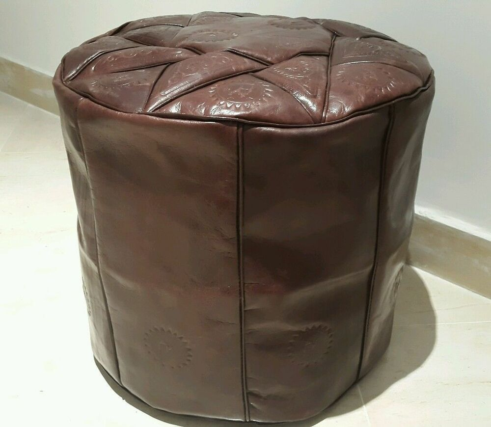 16 inch high handmade moroccan pouf genuine leather pouffe ottoman footstool ebay. Black Bedroom Furniture Sets. Home Design Ideas