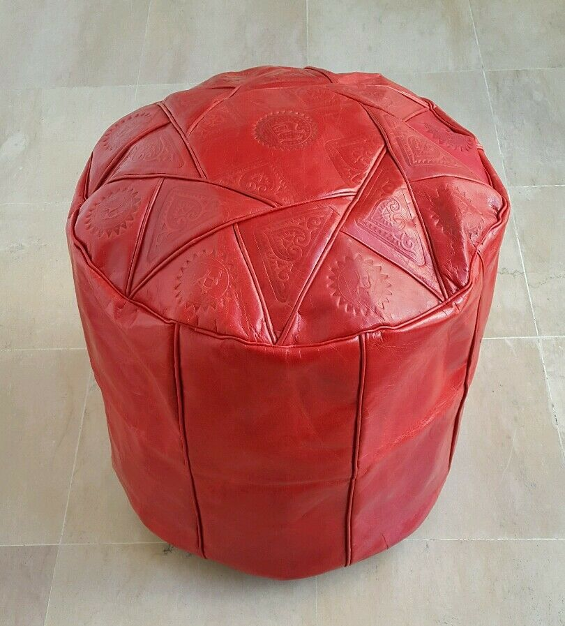 16 Inch High Handmade Moroccan Pouf Genuine Leather Pouffe