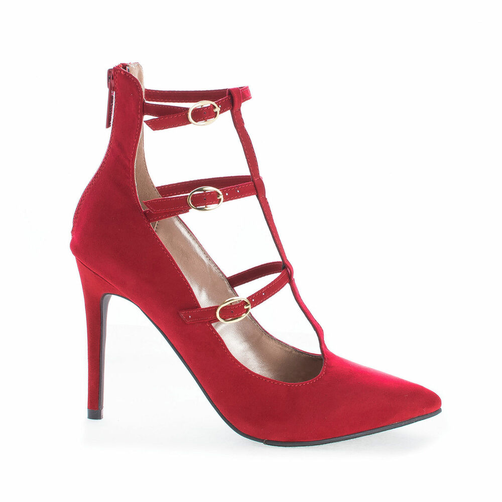 Red High Heel Mary Jane T Strap Pump Pointed Toe Stiletto