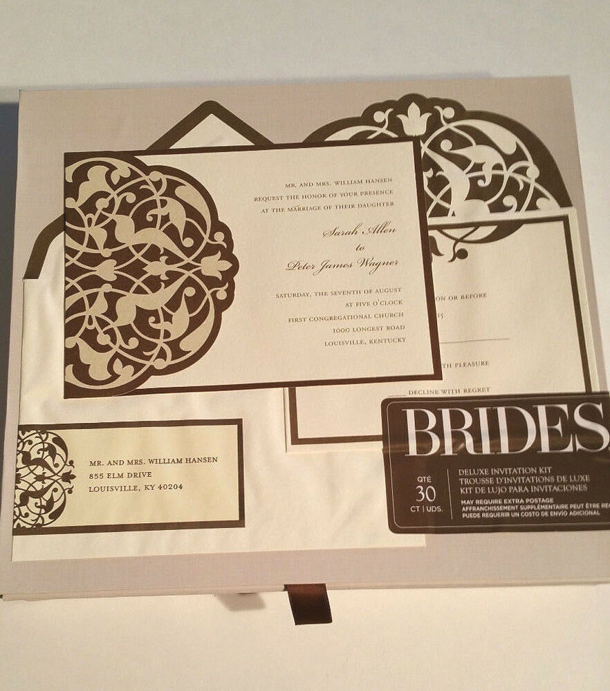 Wedding Invitations Kit: BRIDES Deluxe Wedding Invitation Kit 30 Ct Brown/Ivory