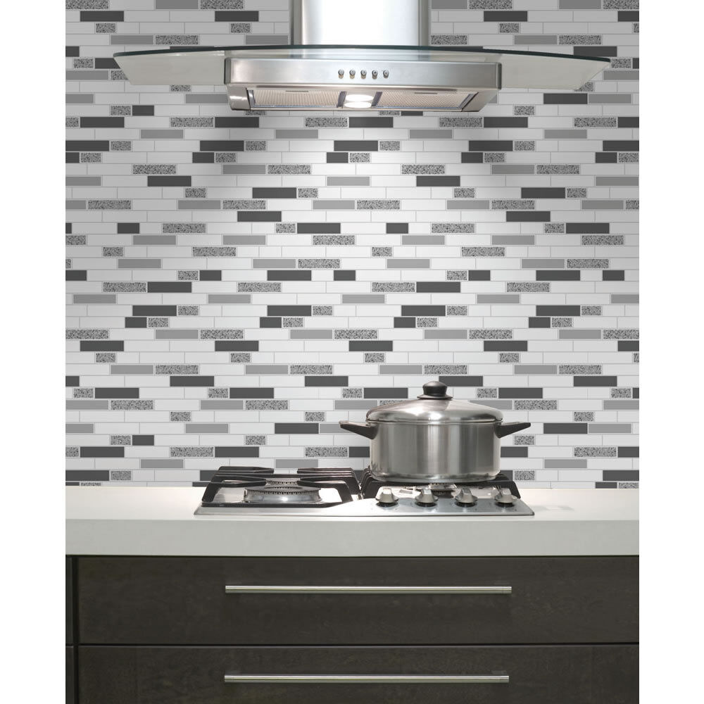 Kitchen / Bathroom Wallpaper -Tiles Oblong Granite- Black & Silver ...