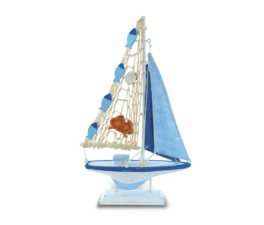 Nautical Decor - Light Blue Stripes Boat W/Crab Small