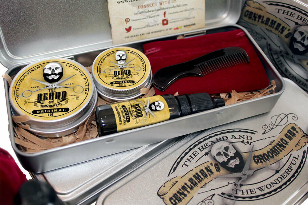 best mens grooming kit gift box moustache wax beard balm beard oil comb case ebay. Black Bedroom Furniture Sets. Home Design Ideas