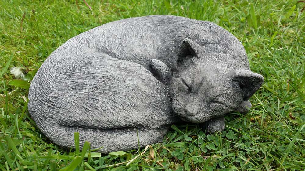 sleeping curled up cat hand cast stone garden ornament. Black Bedroom Furniture Sets. Home Design Ideas