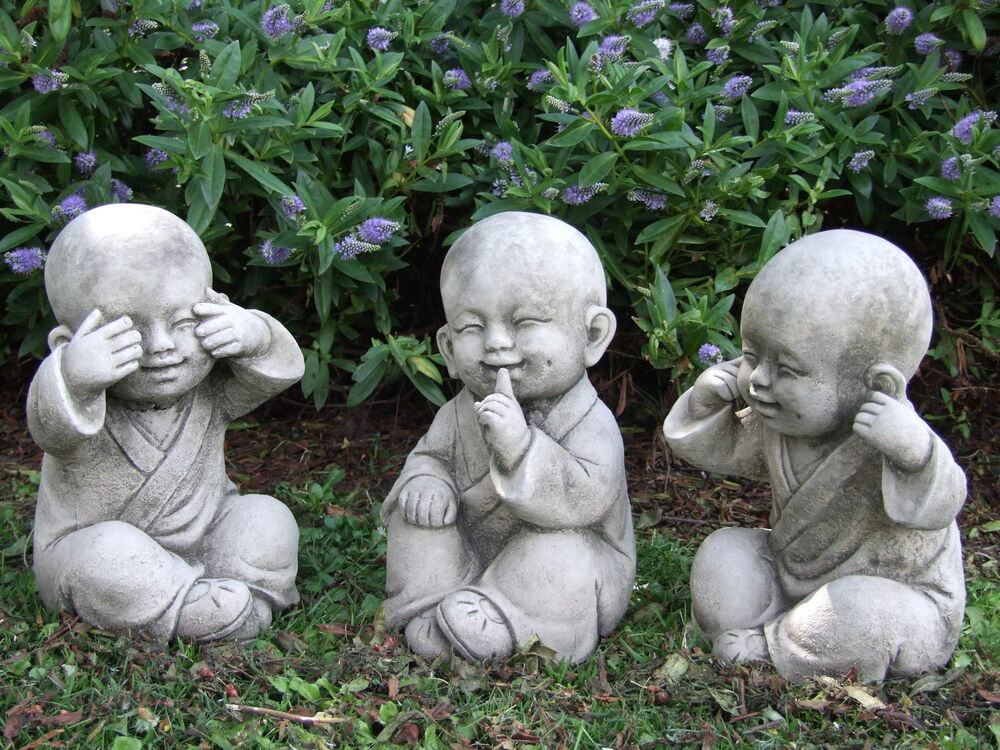 buddha monk set speak see hear no evil garden ornament. Black Bedroom Furniture Sets. Home Design Ideas