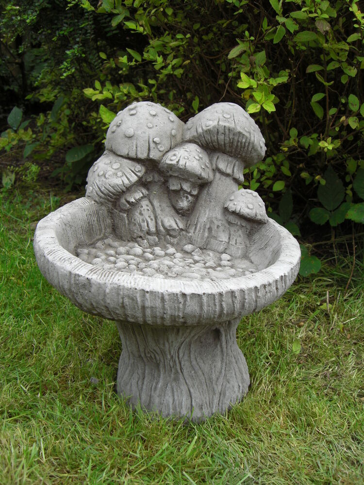 Granite Lawn Ornaments : Mushroom bird bath feeder table hand cast stone garden