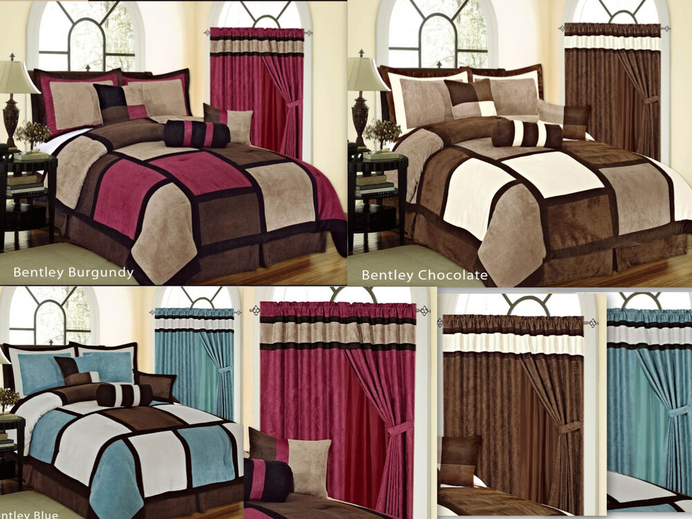 7pc Square Patchwork Micro Suede Soft Bed In A Bag