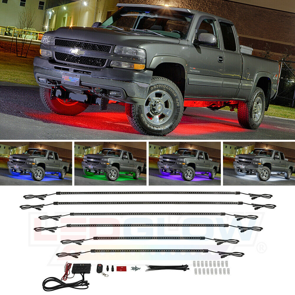 6pc Car Interior Neon Underglow Accent Light Kit: LEDGlow 6pc 7 COLOR SLIMLINE TRUCK UNDERBODY UNDERGLOW SMD