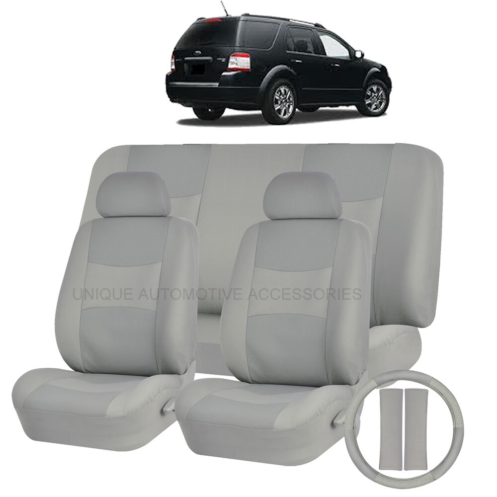 pu leather solid gray seat covers 11pc set for ford edge fusion ebay. Black Bedroom Furniture Sets. Home Design Ideas