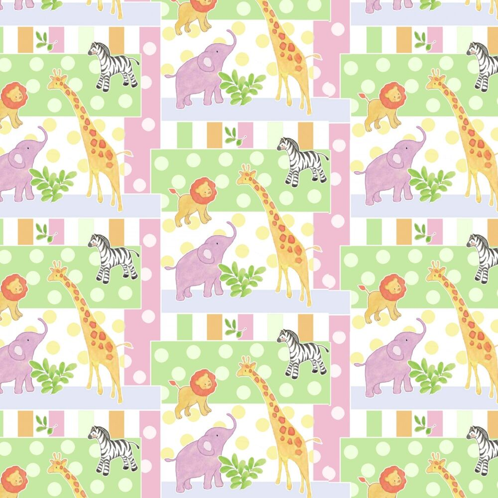 Safari animals lion elephant baby patch premium 100 for Baby fabric by the yard