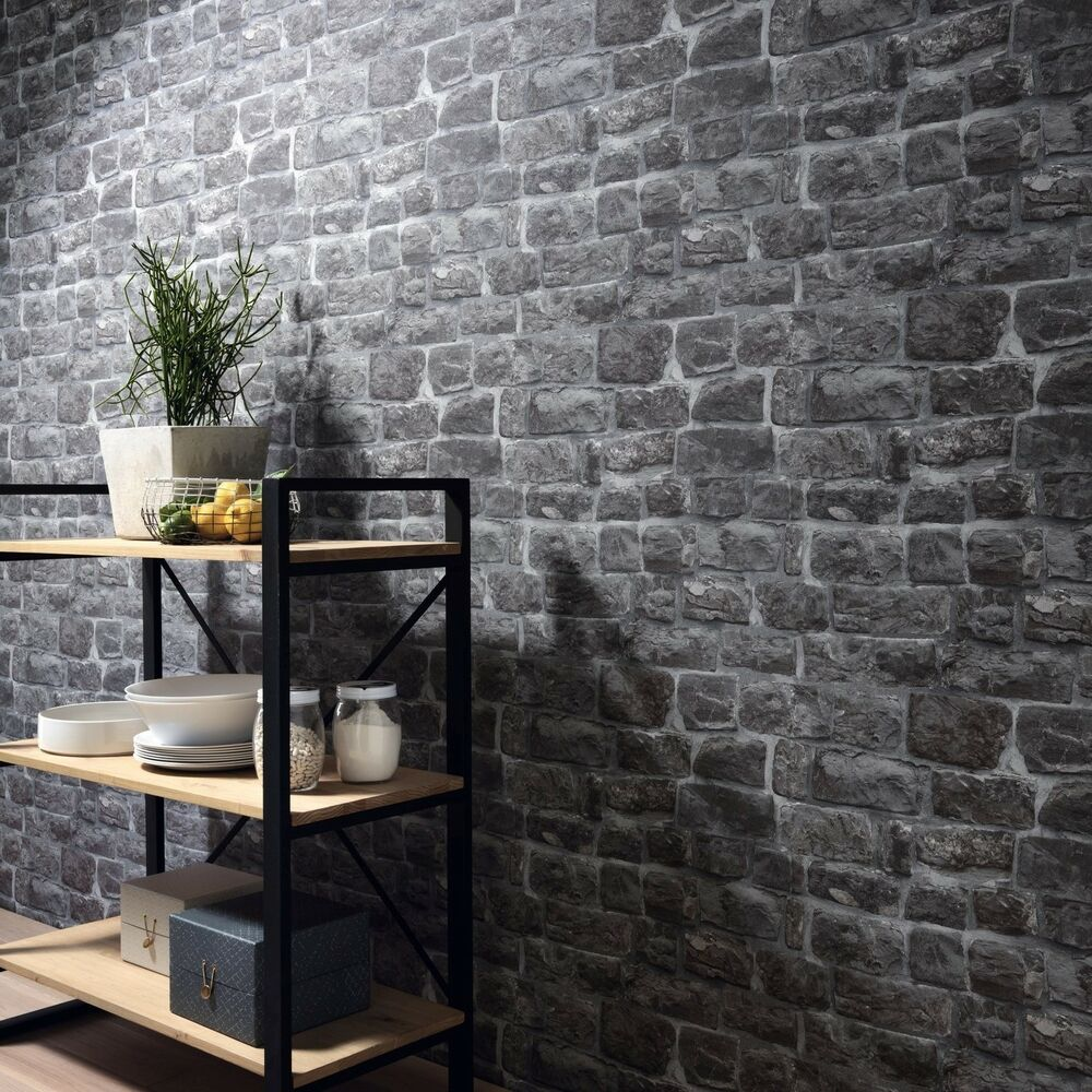Grey Stone Brick Wall Wallpaper Paste The Wall Vinyl 5818