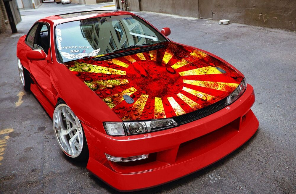 Car Hood Full Color Graphics Vinyl Sticker Japan Flag Rising Sun Decal | eBay