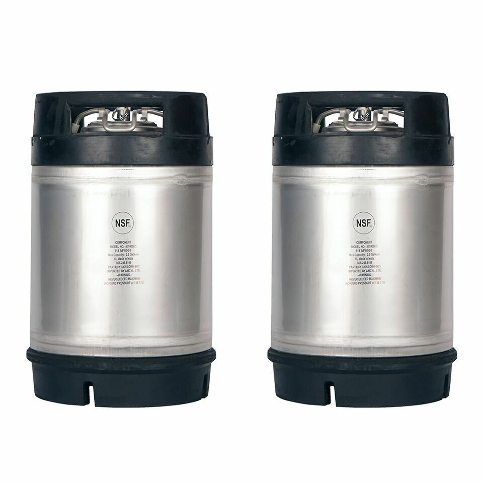homebrew kegs 2 pack new 2 5 gallon ball lock kegs w relief valve ships free ebay. Black Bedroom Furniture Sets. Home Design Ideas