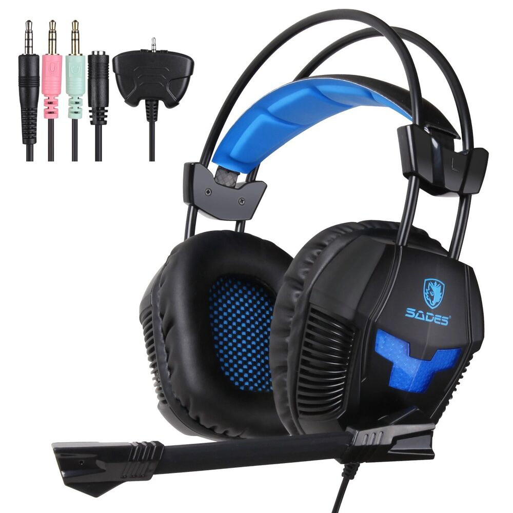 sades sa 921 usb stereo gaming headset headphone with mic for ps4 xbox360 ebay. Black Bedroom Furniture Sets. Home Design Ideas