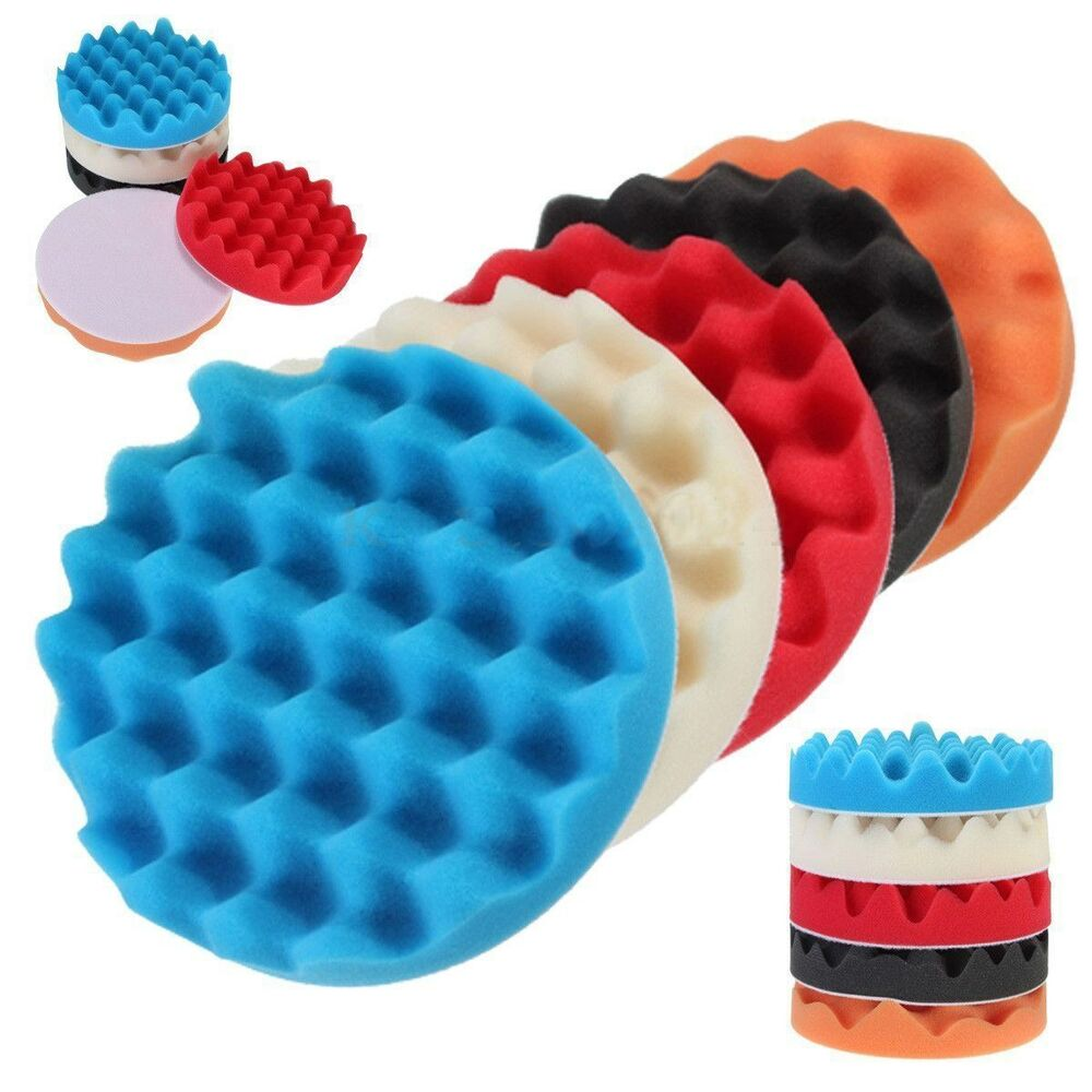 "5Pcs 6"" Sponge Buffer Waffle Polishing Foam Buffing Pads"