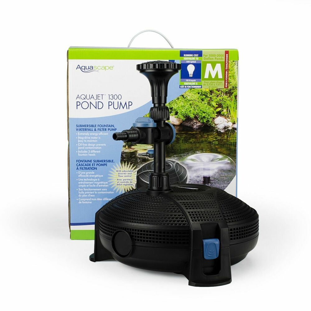 Aquascape aquajet 1300 fountain pond pump 91015 ebay for Garden fountain filters