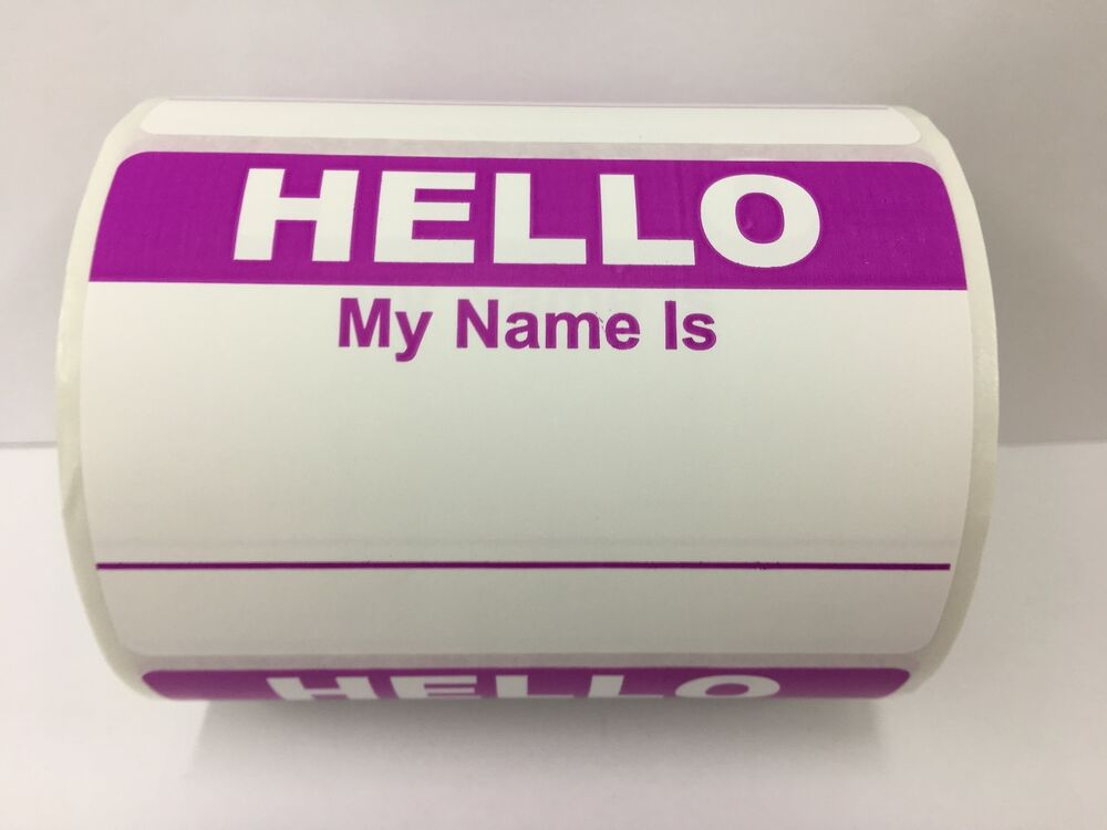 50 Labels 2 3 8x3 1 PURPLE Hello My Name Is Tag Identification Stickers