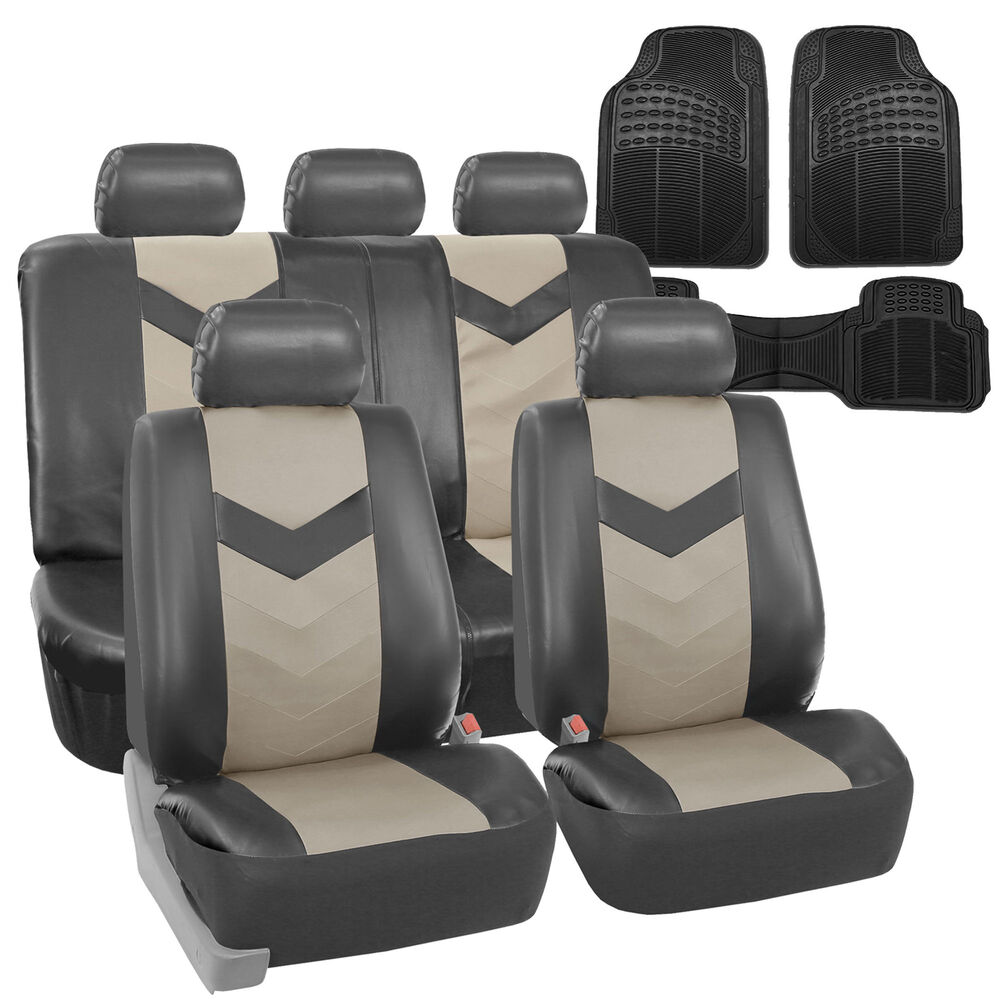 faux leather car seat covers for auto gray w heavy duty floor mats ebay. Black Bedroom Furniture Sets. Home Design Ideas