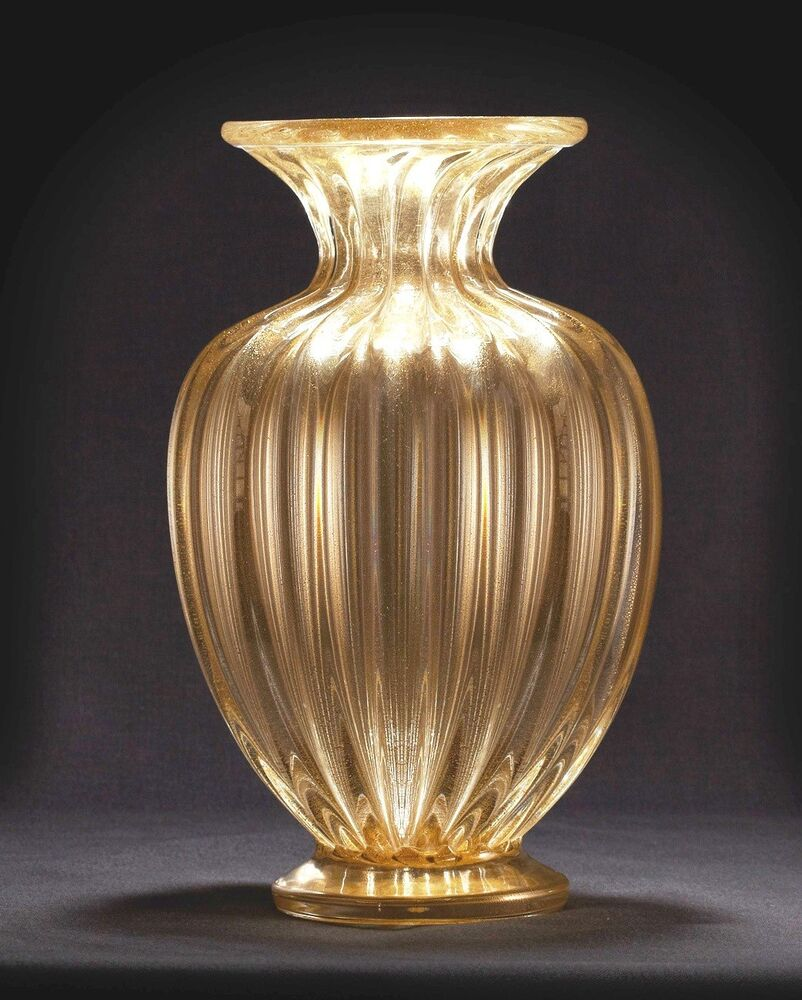 beautiful donghia style venetian murano massimo glass vase with 24 k gold dust ebay. Black Bedroom Furniture Sets. Home Design Ideas
