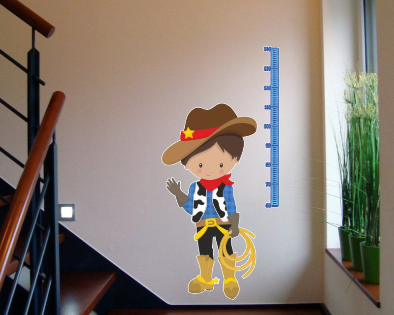 messlatte cowboy wandtattoo aufkleber kinderzimmer meterma ma band 60 x 100cm ebay. Black Bedroom Furniture Sets. Home Design Ideas