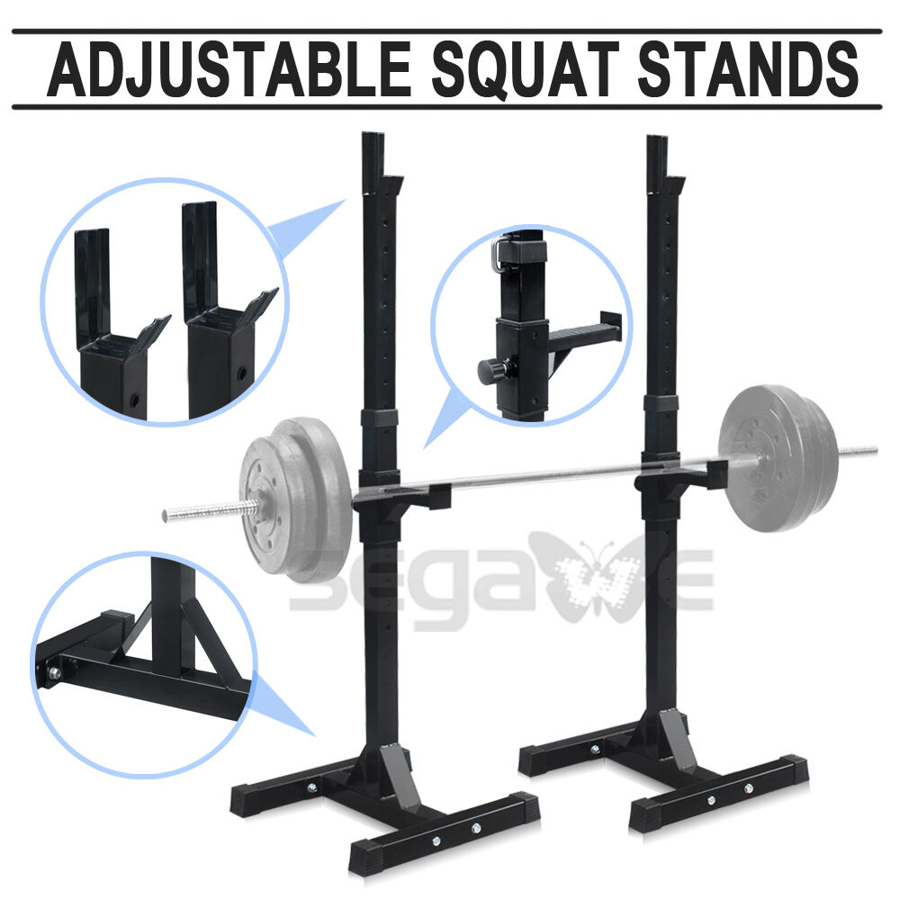 Home Gym Squat Rack Barbell Stand Crossfit Weights Lifting Bench Press Portable Ebay