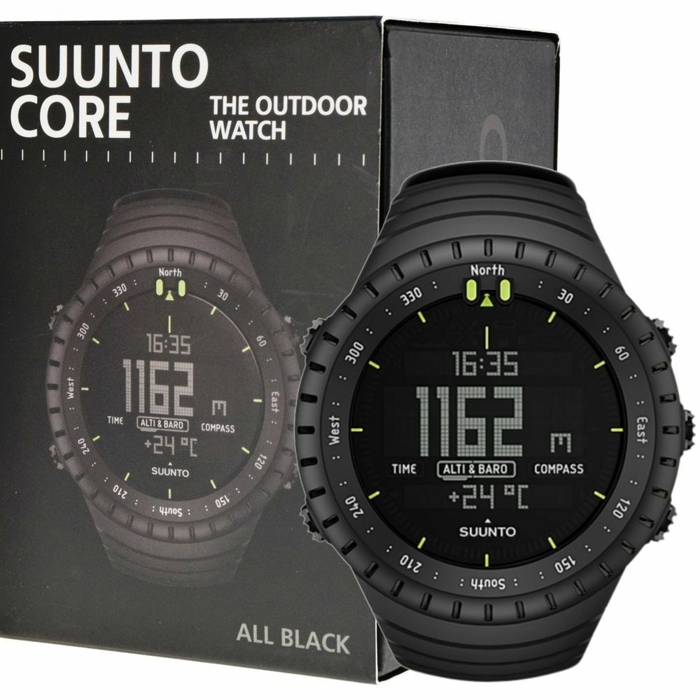 Suunto core all black military men 39 s outdoor sports watch ss014279010 45235900657 ebay for Outdoor watches
