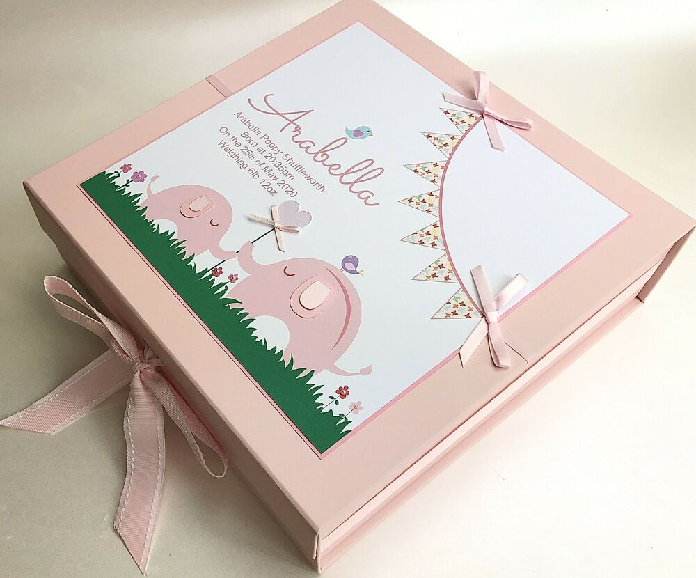 Baby Gift Keepsake Box : Personalised large baby girl s keepsake box memory