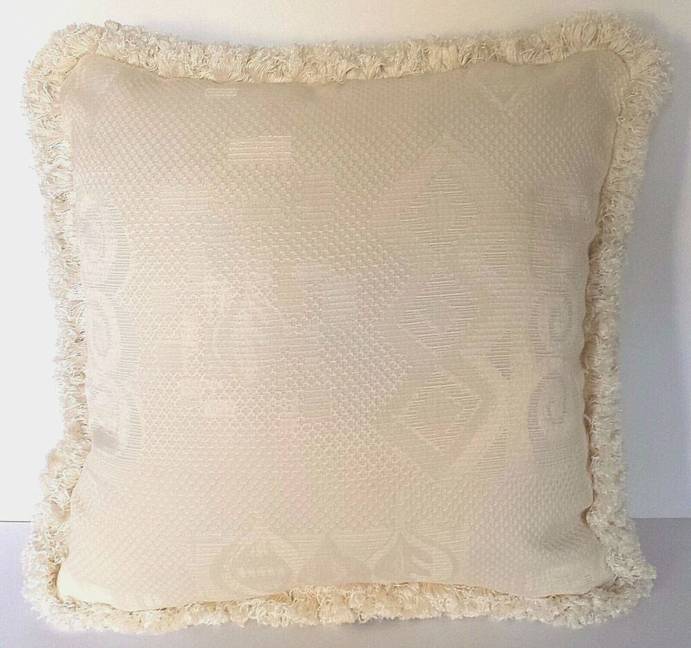 Large Solid Ivory Woven Jacquard Throw Pillow Complete