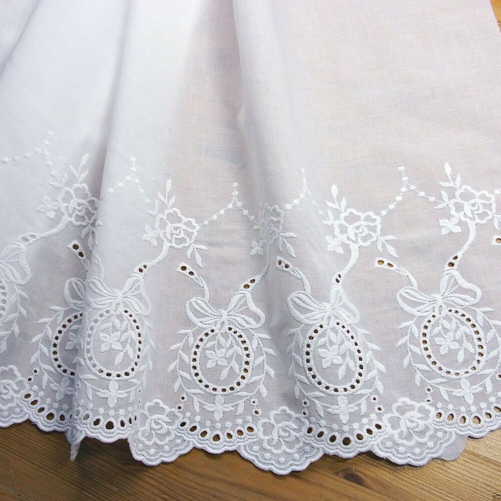 Yd vintage style embroidered cotton lace fabric white
