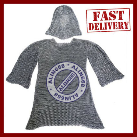 img-Butted Aluminium Chain Mail Shirt & Coif Set, Chainmail Haubergeon with Hood