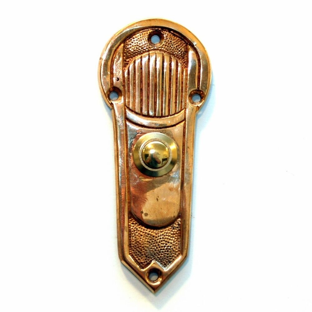 Antique Art Nouveau Push Button Doorbell Brass Door