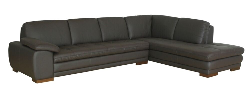Dark brown genuine leather modern sofa sectional couch for Genuine leather sectional sofa with chaise