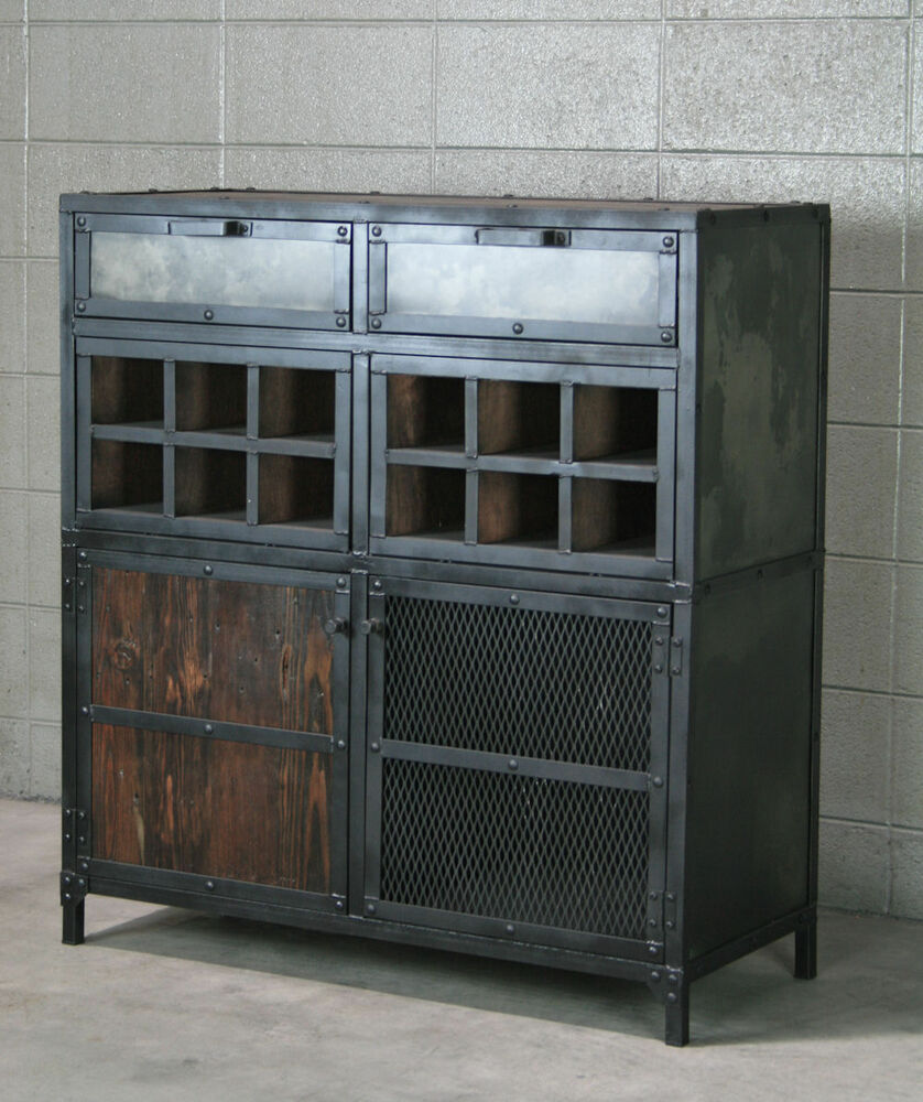 Modern Industrial Liquor Wine Cabinet Vintage Style Bar