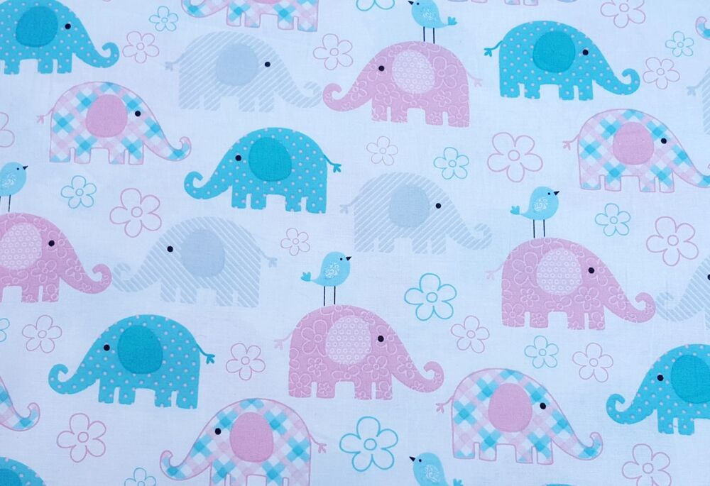 100 Cotton Baby Elephant Chicks Print Fabric Woven Pink