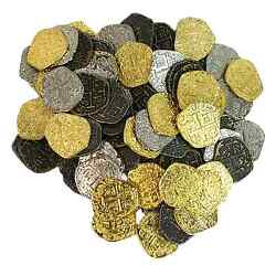 Kyпить Metal Pirate Treasure Coins - Set of 100 Gold and Silver Doubloon Replicas на еВаy.соm