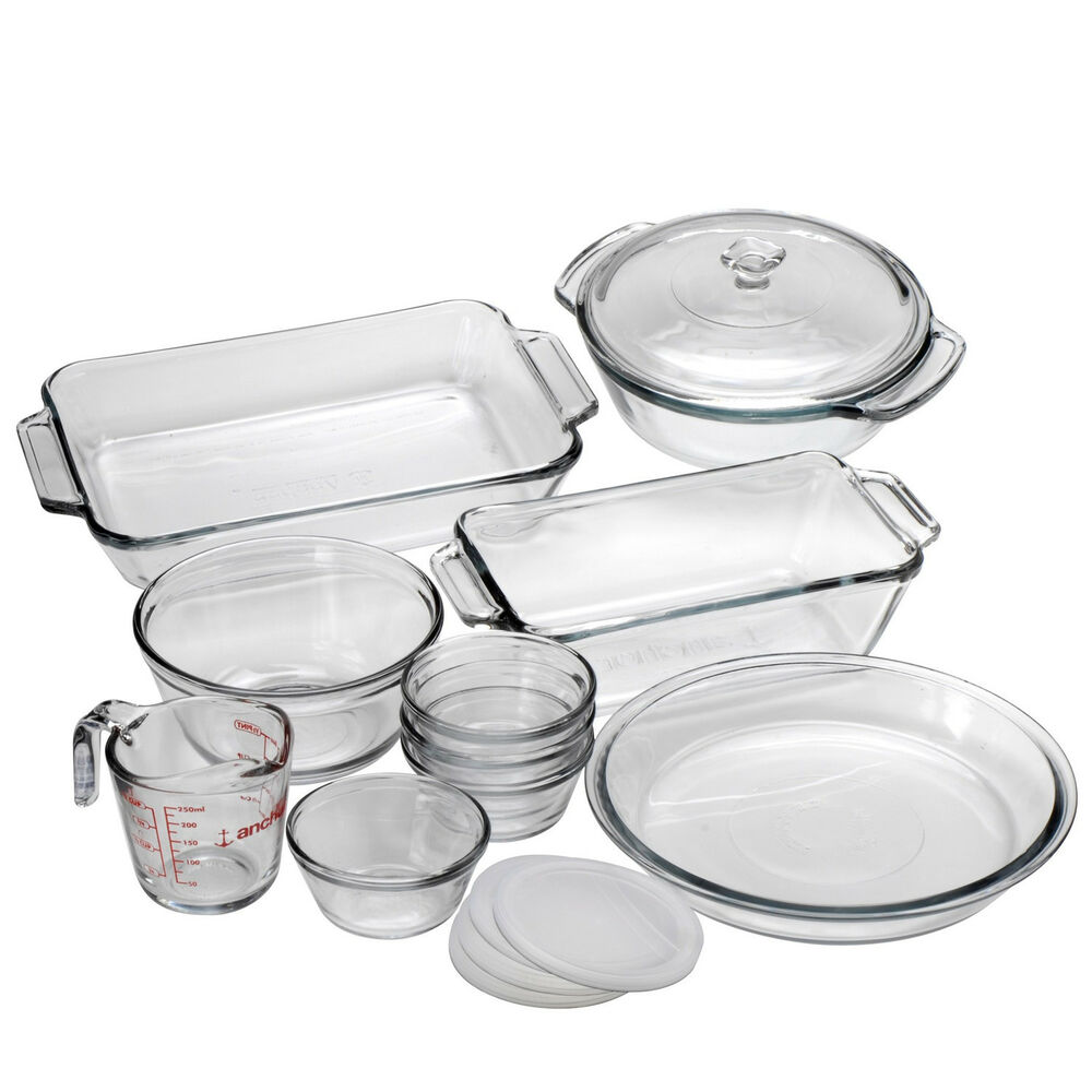 Kitchen Tools Made In Usa: 15 Pc Baking Kitchen Glass Oven Cookware Dishes Pans