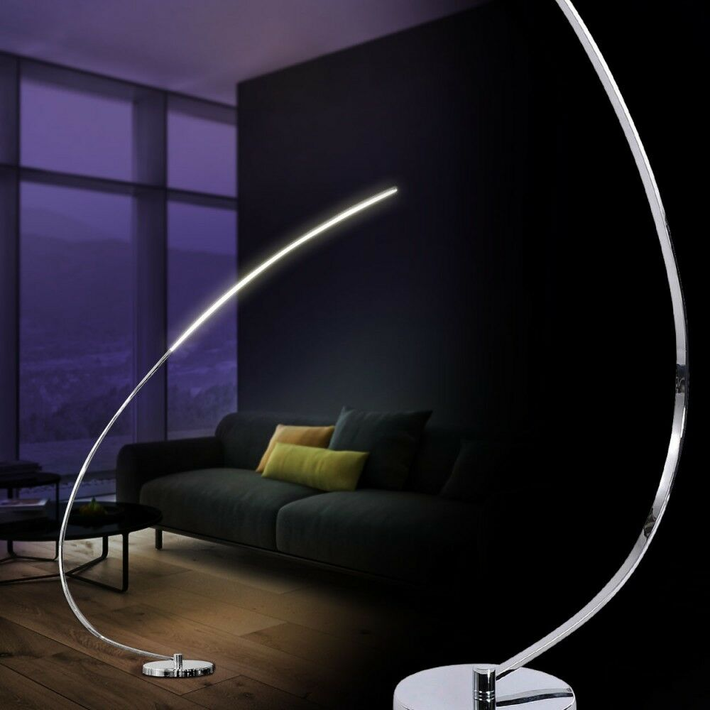 led bogenleuchte design stehlampe chrom standleuchte stehleuchte deckenfluter ebay. Black Bedroom Furniture Sets. Home Design Ideas