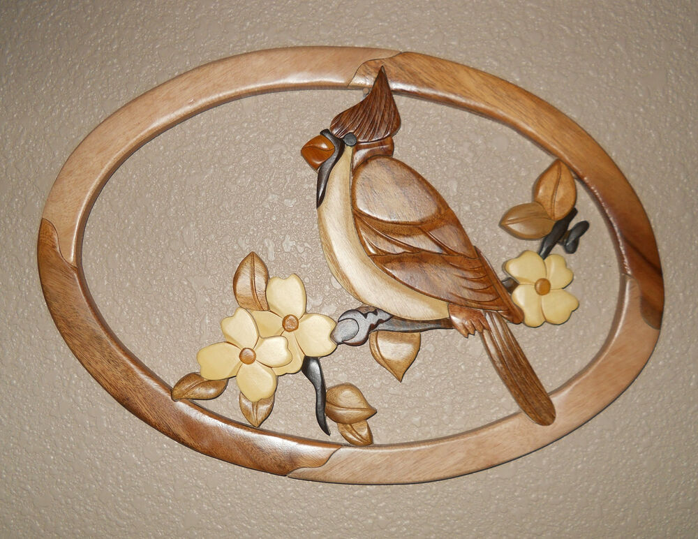 Cardinal& Dogwood Oval Intarsia Wood Art Wood Decor Wall Hanging NEW eBay