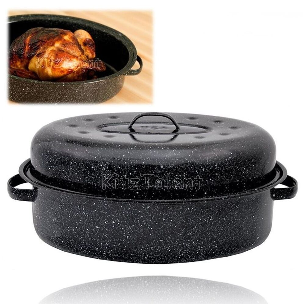 Cooking Turkey Covered Oval Roaster 18 Quot Carbon Steel